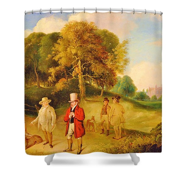 Jmw Turner And Walter Fawkes At Farnley Hall - Digital Remastered Edition Shower Curtain