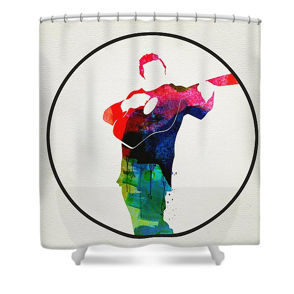 Johnny Cash Watercolor Shower Curtain