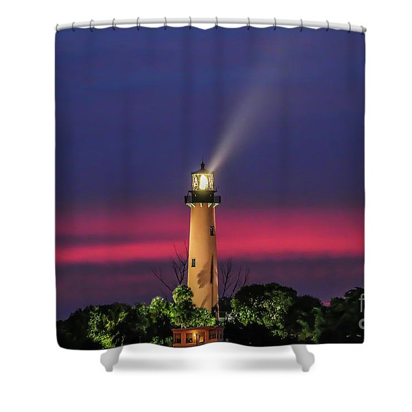 Shower Curtain featuring the photograph Jupiter Light Beam by Tom Claud