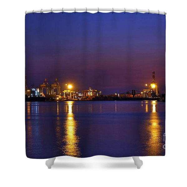 Kaohsiung Port At Dusk Shower Curtain