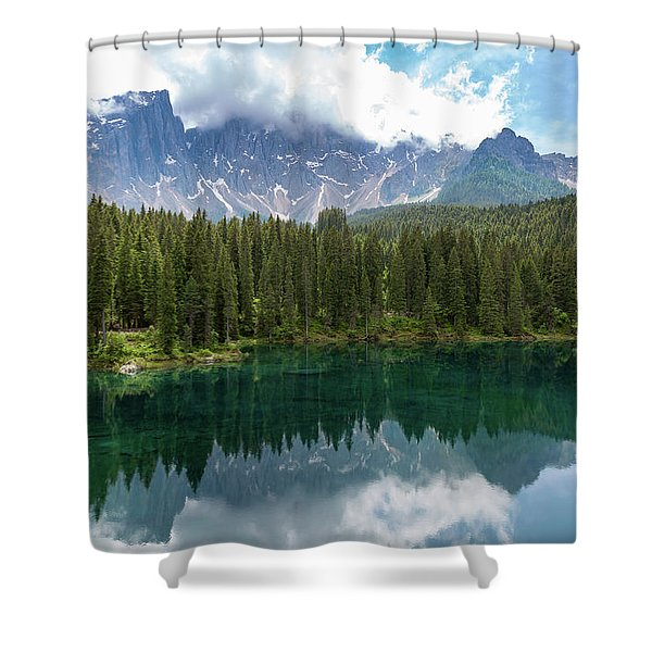 Karersee And Latemar Shower Curtain