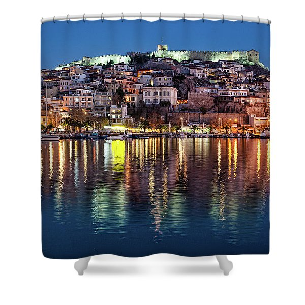 Shower Curtain featuring the photograph Kavala Town At Night by Milan Ljubisavljevic