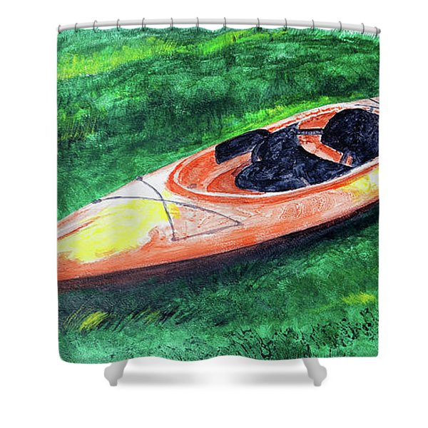 Kayak In The Grass Shower Curtain