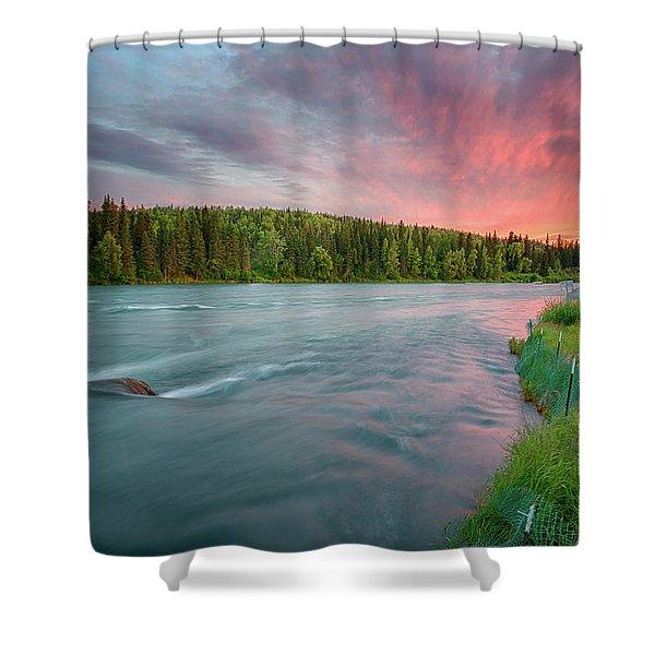 Kenai River Alaska Sunset Shower Curtain
