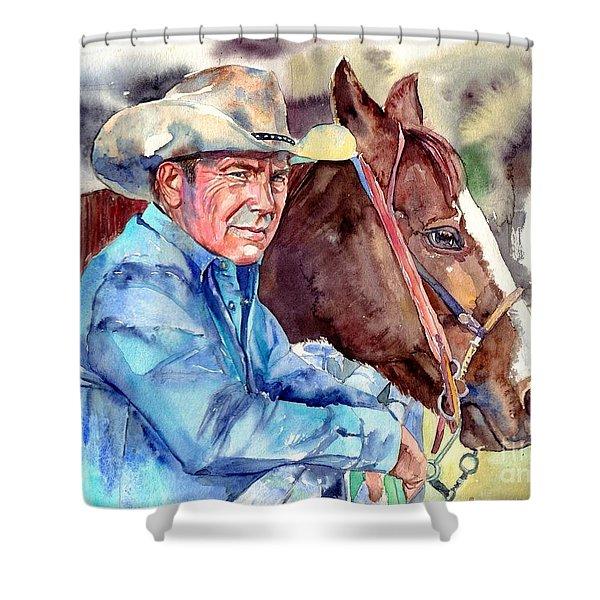 Kevin Costner Portrait Shower Curtain