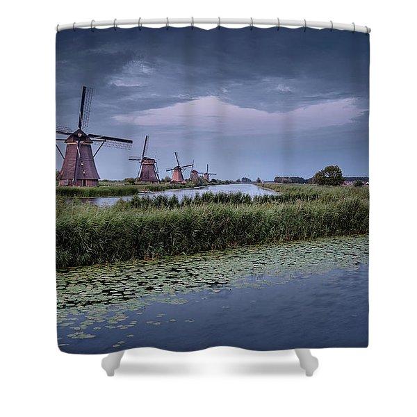 Kinderdijk Dark Sky Shower Curtain