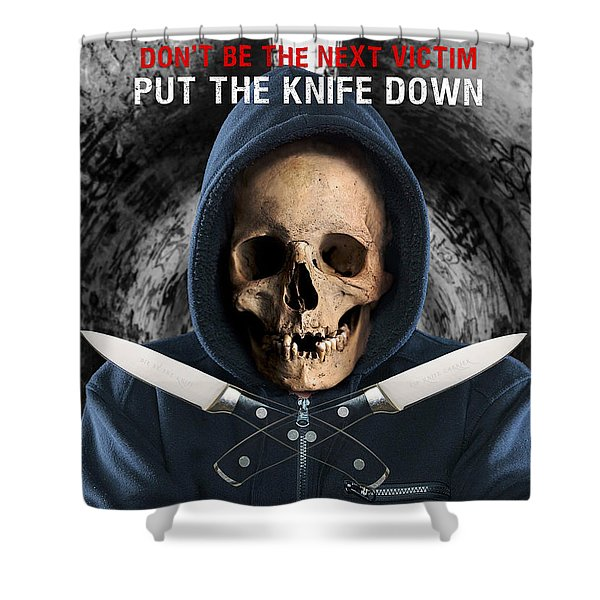 Shower Curtain featuring the digital art Knife Crime Part 2 - The Next Victim by ISAW Company