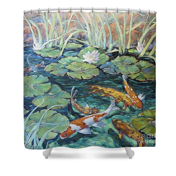 Koi Fish Pond By Richard Pranke Shower Curtain