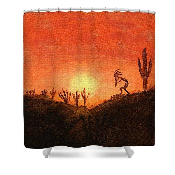 Kokopelli's Sunset Song Shower Curtain