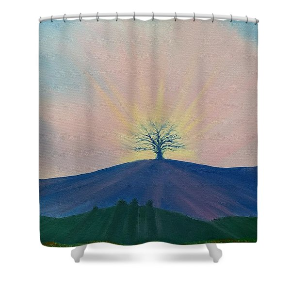 Shower Curtain featuring the painting Komorebi by Kevin Daly