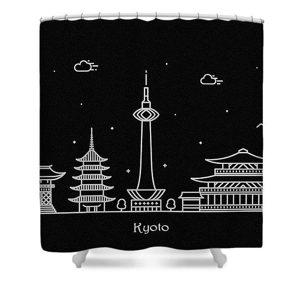 Kyoto City Skyline Travel Poster Shower Curtain