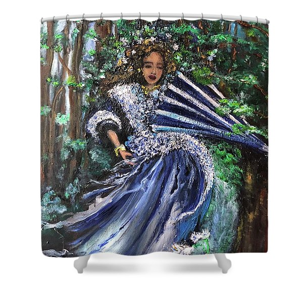 Lady In Forest Shower Curtain