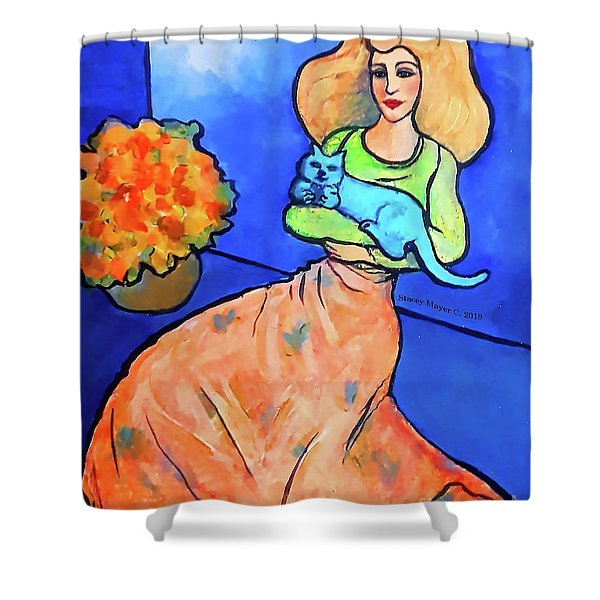 Lady With Blue Cat Shower Curtain