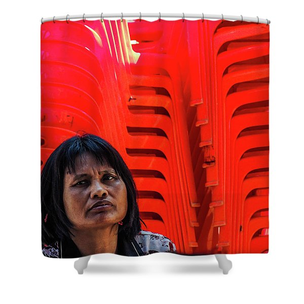 Lady With Red Chairs Shower Curtain