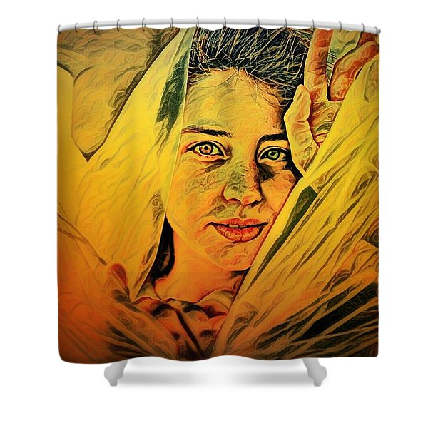 Lady Wrapped In Strings Shower Curtain