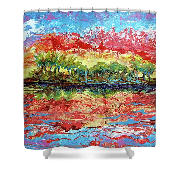 Lagoon Sunset Shower Curtain