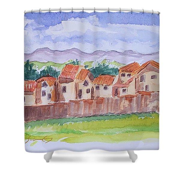 Laguna Del Sol Row Houses Shower Curtain