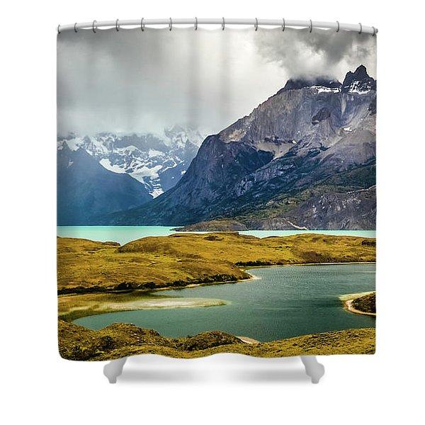 Laguna Larga, Lago Nordernskjoeld, Cuernos Del Paine, Torres Del Paine, Chile Shower Curtain