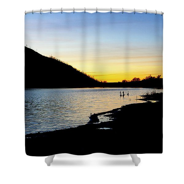 Lake Cuyamaca Sunset Shower Curtain