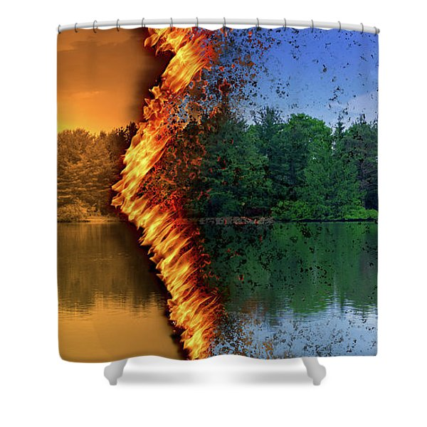 Lake Forest Fire Shower Curtain