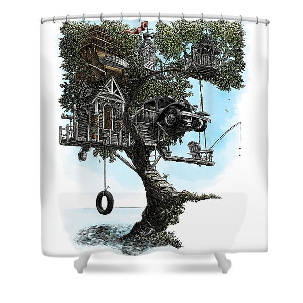 Lake Front Dream House Shower Curtain