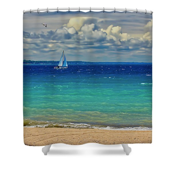 Shower Curtain featuring the photograph Lake Huron Sailboat by Meta Gatschenberger