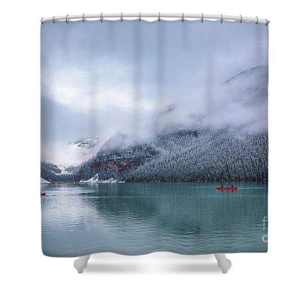 Lake Louise Canoeing Shower Curtain