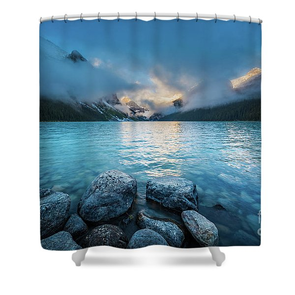 Lake Louise Morning Clouds Shower Curtain