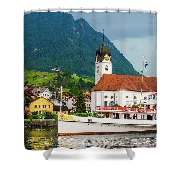 Lake Lucerne Steamer Shower Curtain