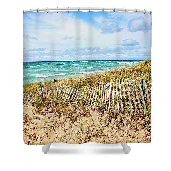 Lake Michigan Beachcombing Shower Curtain