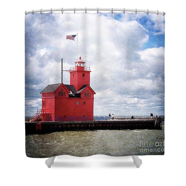 Lake Michigan Light House Shower Curtain