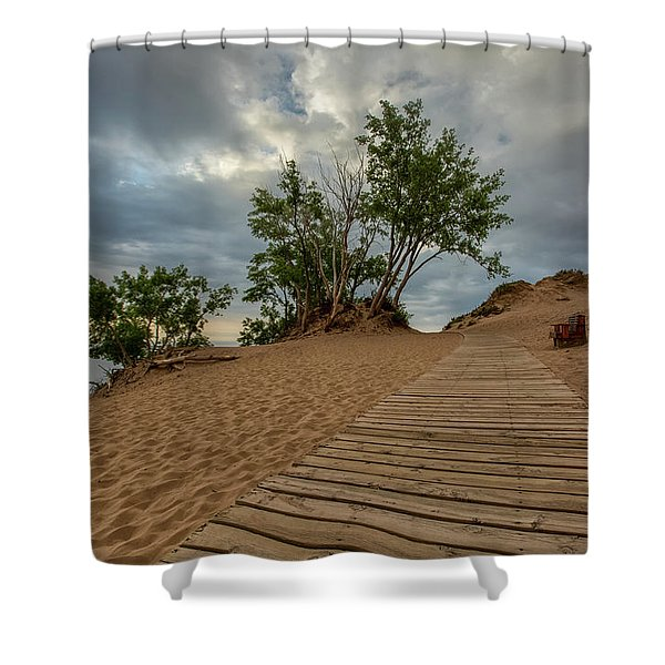 Shower Curtain featuring the photograph Lake Michigan Overlook 4 by Heather Kenward
