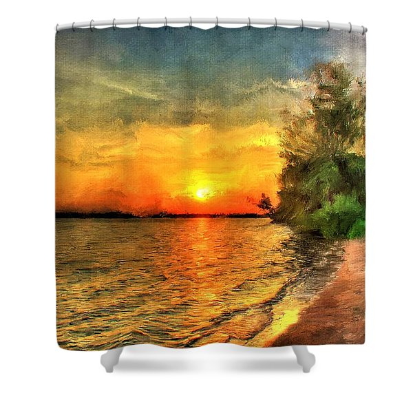 Lake Sunset Shower Curtain