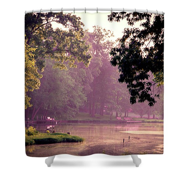 Lakeside Dawn Shower Curtain