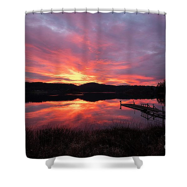 Lakeside Sunset Reflection Serenity Shower Curtain