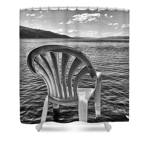 Shower Curtain featuring the photograph Lakeside Waiting Room by Tom Gresham