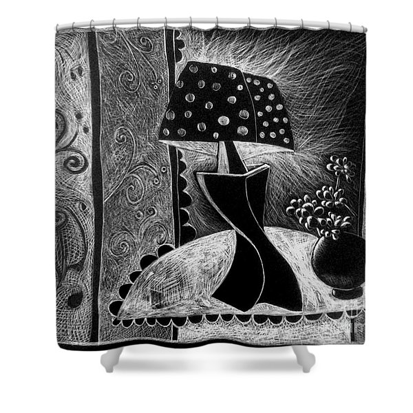 Lamp And Flowers. Shower Curtain