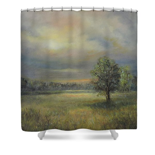 Landscape Of A Meadow With Sun And Trees Shower Curtain