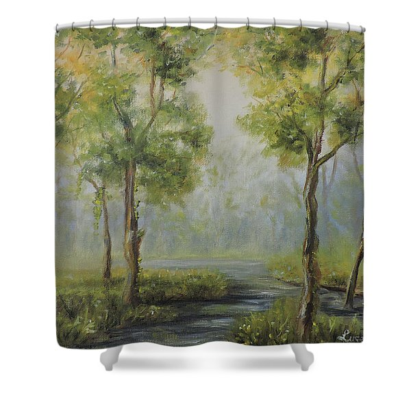 Landscape Of The Great Swamp Of New Jersey With Pond Shower Curtain