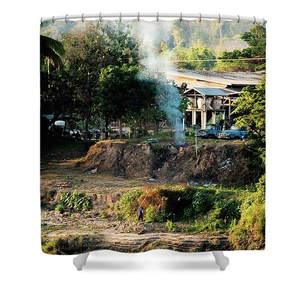 Laos Riverside Scene  Shower Curtain