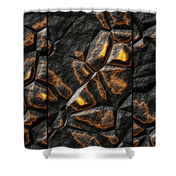 Large Gold Stone Triptych Shower Curtain