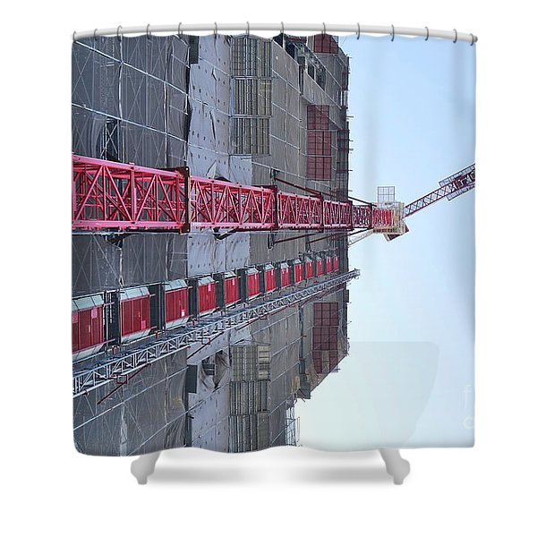 Large Scale Construction Site With Crane Shower Curtain