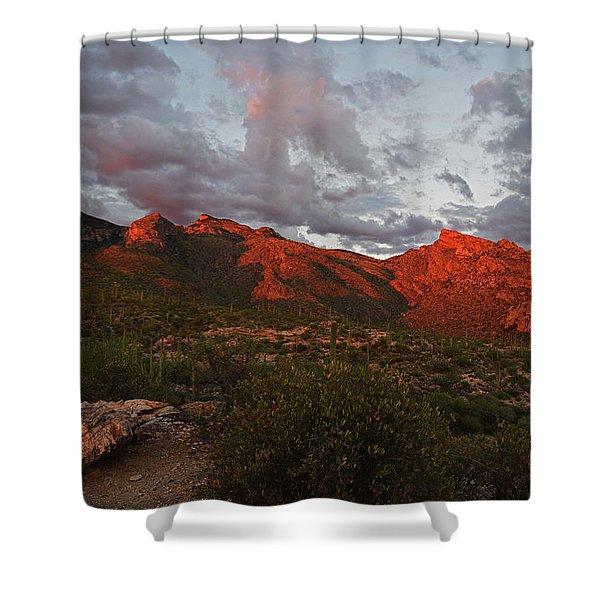 Last Light On Catalina Mountains Shower Curtain