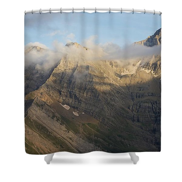 Late Evening Light On Pic De Marbore Shower Curtain