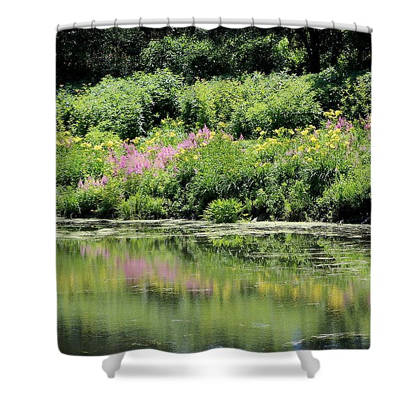 Lavender And Gold Reflections At Chicago Botanical Gardens Shower Curtain