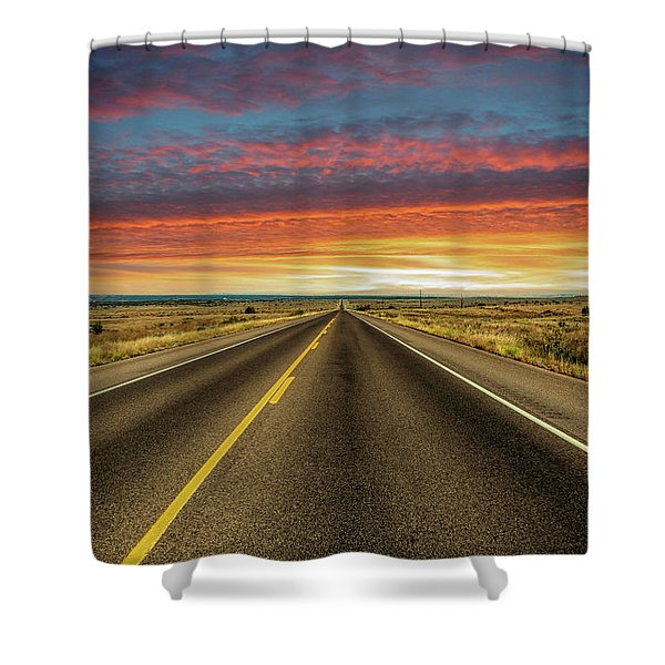 Leaving Lubbock Vanishing Point Shower Curtain