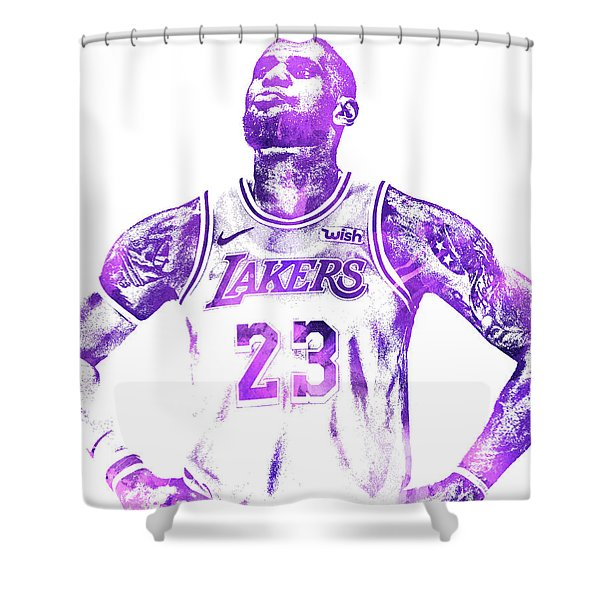 Lebron James Los Angeles Lakers Water Color Pixel Art 30 Shower Curtain