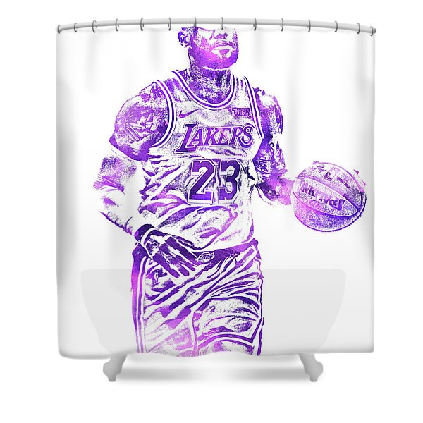 Lebron James Los Angeles Lakers Water Color Pixel Art 31 Shower Curtain