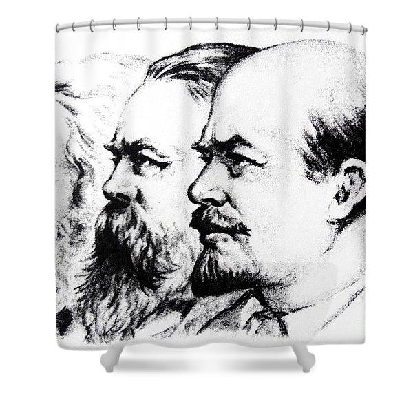 Left To Right Karl Marx Friedrich Engels Vladimir Lenin Shower Curtain