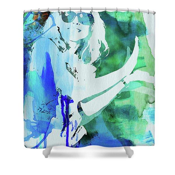Legendary Blondie Watercolor Shower Curtain